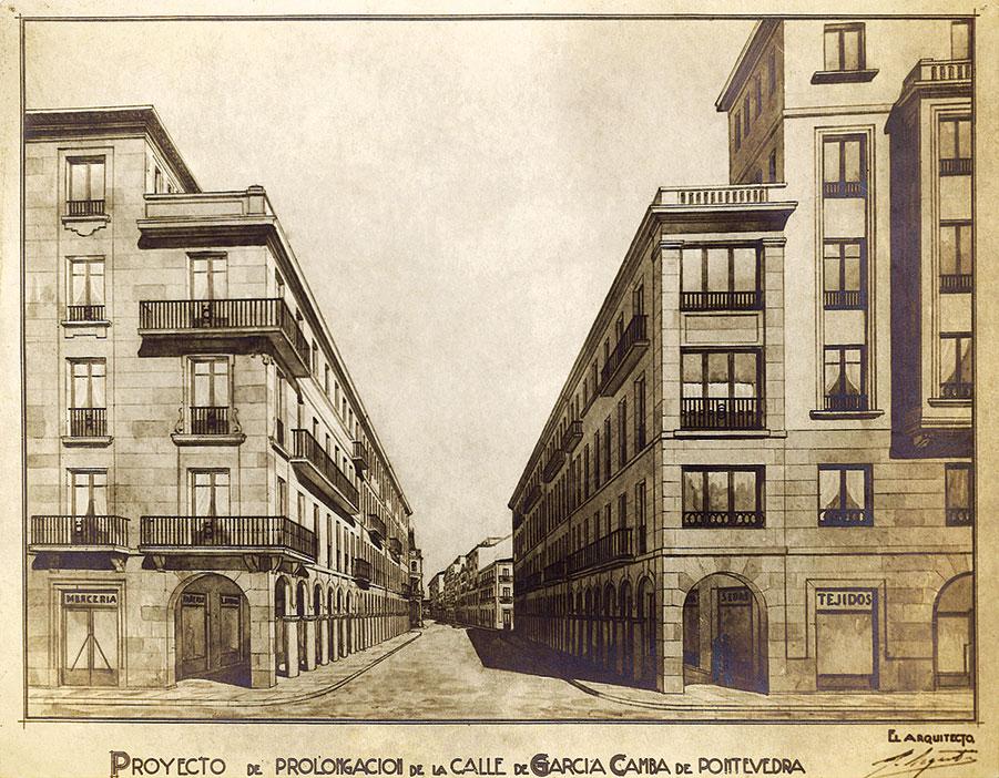 Proxecto de prolongación da rúa de García Camba, 1944