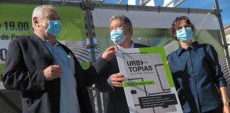 Miguel Anxo Fernández Lores, César Mosquera e Anabel Gulías na presentación de Urbtopías.